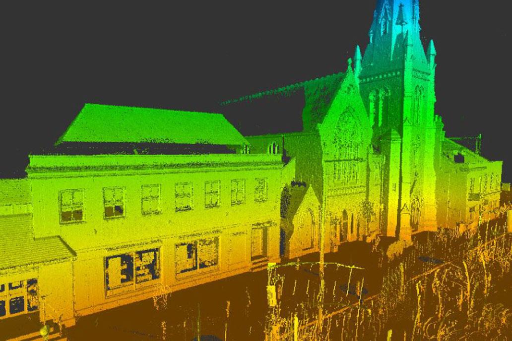 Point cloud survey image of Salisbury Maltings